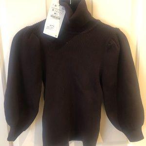 Zara puffed sleeve turtle neck sweater
